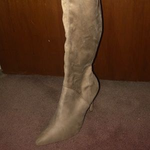 Kendal and Kylie tan suede thigh high boots